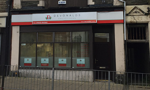 the shop front for Devonalds solicitors Tonypandy branch